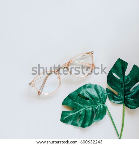 latest style in eyeglasses i75g  Eyeglasses and green palm leaves on grey background, minimal style with  spring concept