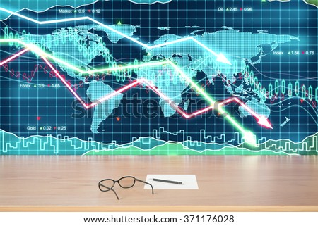 Eyeglasses and paper on wooden table at business graph with arrows down background - stock photo