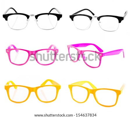 eyeglasses collection isolated on the white backogrund.  - stock photo