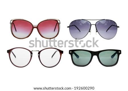 Eyeglasses collection isolated on white backgrund, Sunglasses photo set. - stock photo