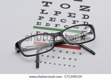 Eyeglasses on Eye Chart - stock photo