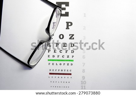 Eyeglasses on eye chart, a pair of glasses on eye chart. - stock photo
