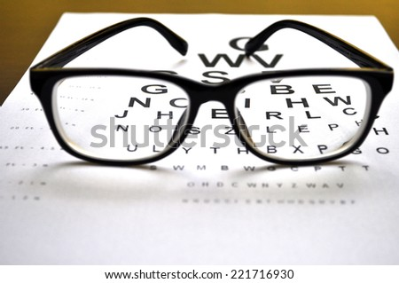 Eyeglasses on eye charts background closeup