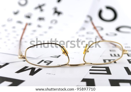 Eyeglasses on the ophthalmologic scales. Shallow DOF. - stock photo