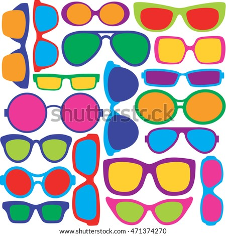 Eyeglasses Pattern Illustration of eyeglass frame styles in a colorful seamless pattern.
