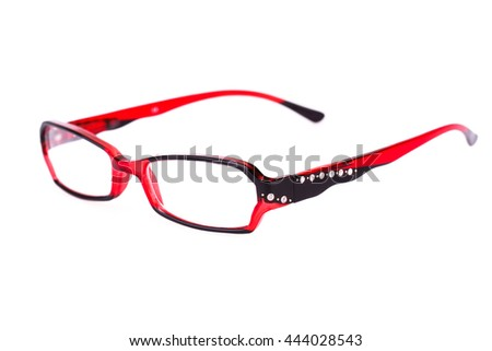 Eyeglasses with red frame isolated on white background.