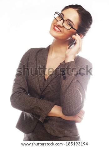 Eyeglasses Woman Using Phone - stock photo