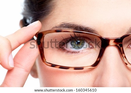 Eyeglasses. Woman wearing eyeglasses. Optometrist background. - stock photo
