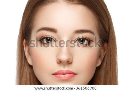 Eyes Beautiful woman face close up studio on white  - stock photo