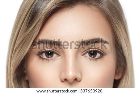Eyes Beautiful woman face portrait close up studio on white blonde  - stock photo