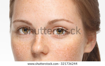 eyes beautiful woman face portrait young isolated on white - stock photo
