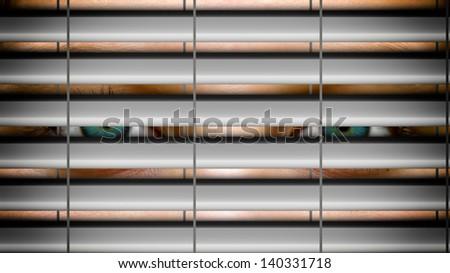 Eyes behind a shutter - stock photo