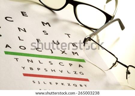 Eyes Examination, glasses diopter check up - stock photo