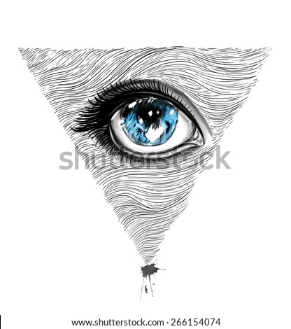 Eyes illustration/T-shirt Graphics/All Seeing Eye print/Hand-drawn Eye of Providence/realist eye illustration/hand-drawn eyes design/pyramid textured eye/men's t-shirt design - stock photo