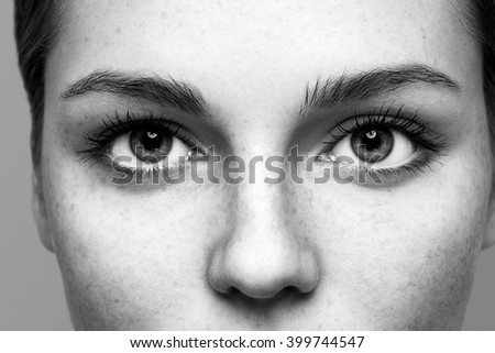 Eyes nose woman face close-up black and white