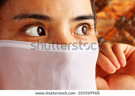 Eyes of a Asian Muslim  Woman - stock photo