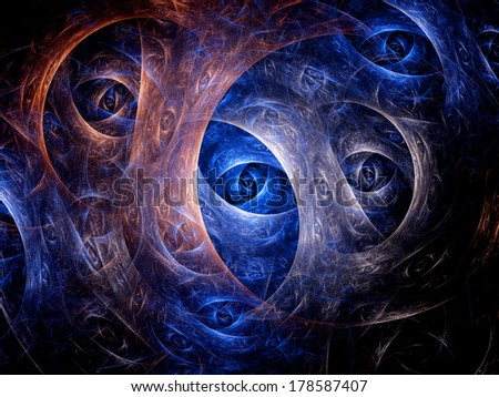 Eyes of dimensions, computer generated fractal background