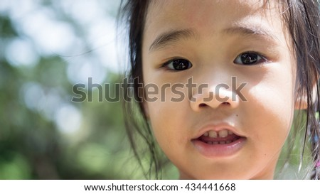 EYES of kid , Portrait of the beautiful small Asian girl/park scene - stock photo