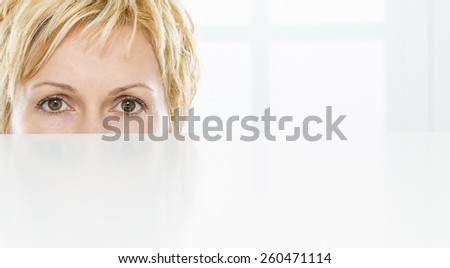 Eyes of nice, forty years old woman - stock photo