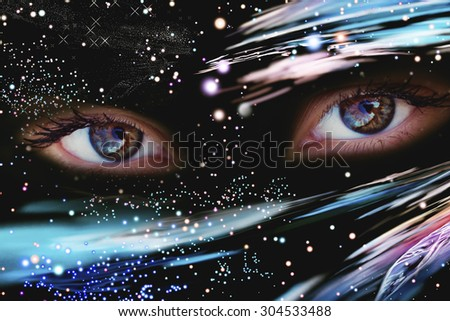 Eyes of the Universe, space Eye, live space - stock photo