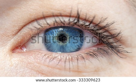 eyes of the white girls with blue eyeball closeup