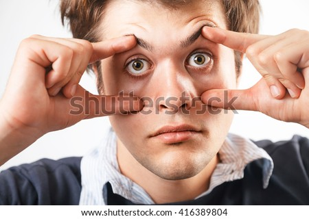 Eyes Open. Tired Awake Young Man - stock photo