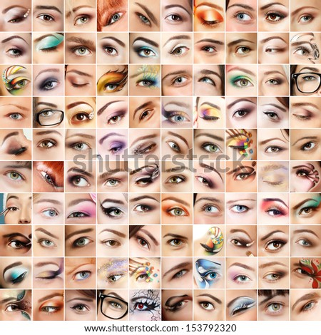 Eyes 100 set. Collage of beautiful female eyes with makeup. Isolated over white background