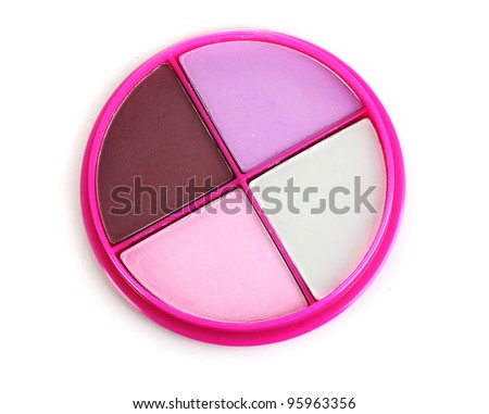 eyes shadow in pink box isolated on white - stock photo
