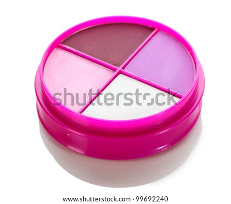 eyes shadow in pink box isolated on white