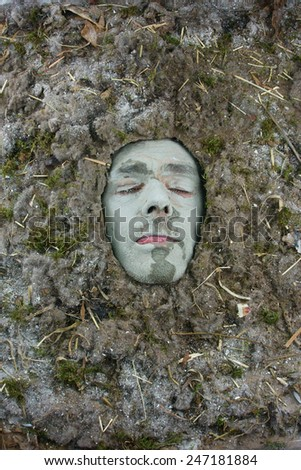 eyes shut acarus man in a dust allergy concept - stock photo