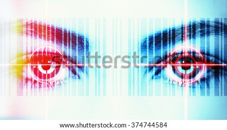 Eyes with barcode and laser ray - stock photo