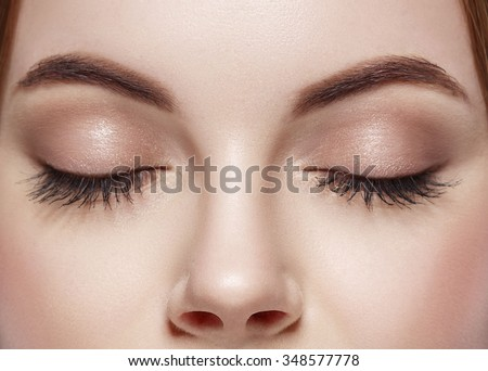 Eyes woman closed eyebrow eyes lashes