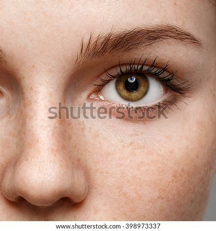 Eyes woman eyebrow eyes lashes nose freckles