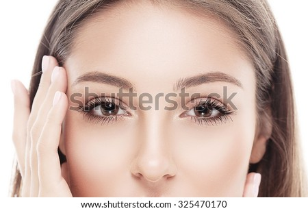 Eyes Young beautiful woman face portrait with healthy skin   - stock photo