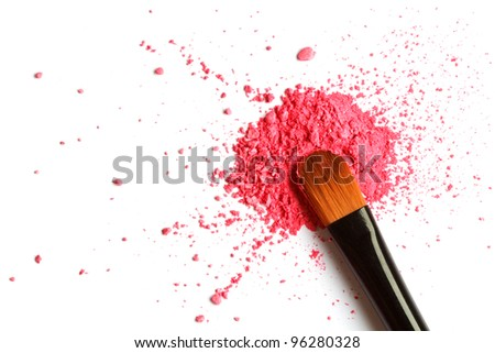 Eyeshadow brush with powder - stock photo