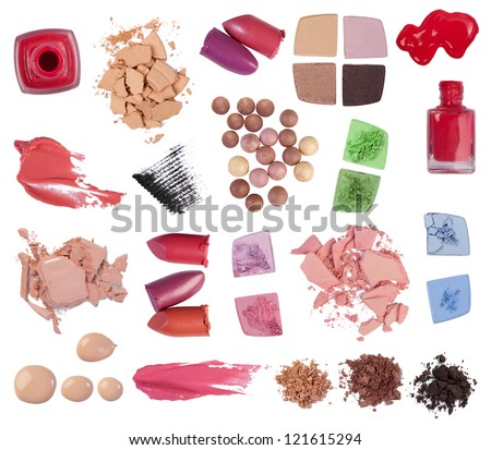 Eyeshadow, lipstick, mascara and other makeup products isolated on white background - stock photo