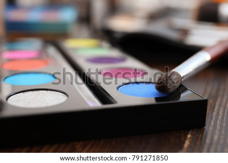 Eyeshadow palette with brush of professional makeup artist, closeup