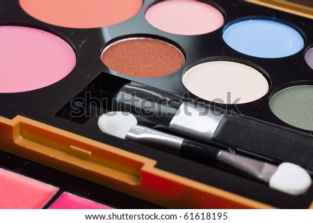 eyeshadows set with brush on white background