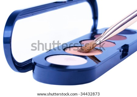 Eyeshadows with make up brush - stock photo