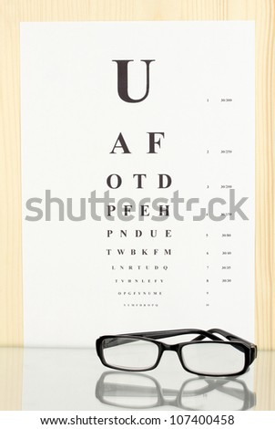 Eyesight test chart with glasses close-up - stock photo