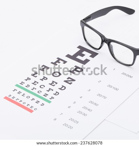 Eyesight test chart with glasses over it - healthcare concept - stock photo