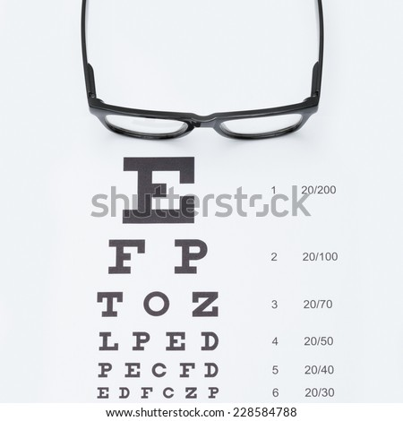 Eyesight test chart with glasses - studio shot