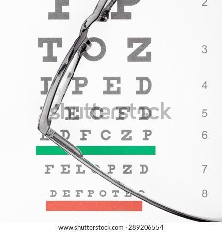 Eyesight test table and glasses over it - close up - stock photo