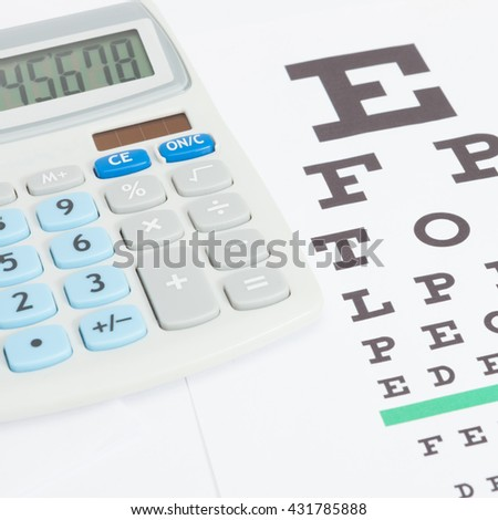 Eyesight test table with calculator over it - close up studio shot - stock photo