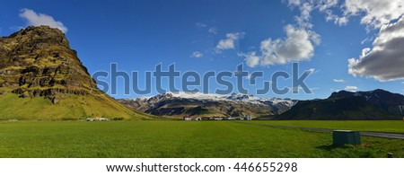Eyjafjallajokull, a volcano that erupted in 2010 and caused huge disruption to aviation, Iceland - stock photo