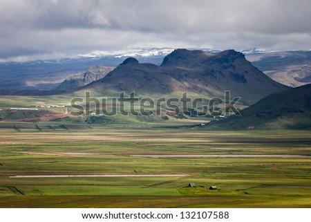 Eyjafjallajokull as seen from Reynisfjara - stock photo