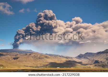 Eyjafjallajokull volcano eruption, Iceland/ Eyjafjallajokull volcano eruption, Iceland - stock photo