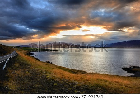 Eyjafjordur fjord in Northern Iceland at sunset - stock photo