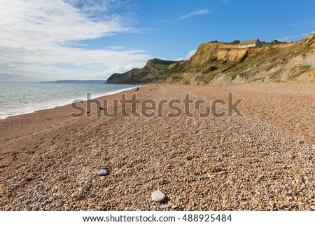 Eype beach Dorset England uk small coast village south of Bridport view to the west direction of Golden Cap