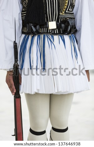 Ezvonas,Presidential Guard, an elite ceremonial unit that guards the Greek Tomb of the Unknown Soldier - stock photo